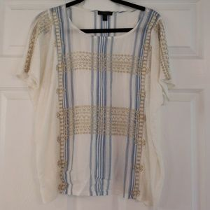 J. Crew Ivory Blue Gold Embroidered Blouse